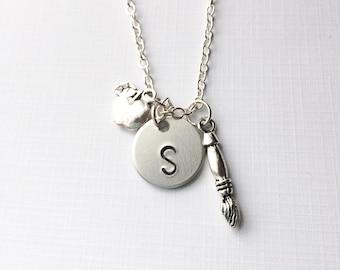 Teacher Necklace, teacher appreciation, letter necklace, gift for teacher, art teacher gift, artist jewelry, teacher, tiny letter necklace