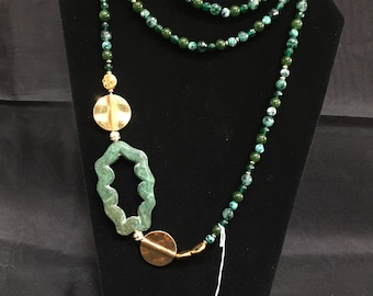 Emerald, Jade, and Gold plated Silver Beaded Necklace
