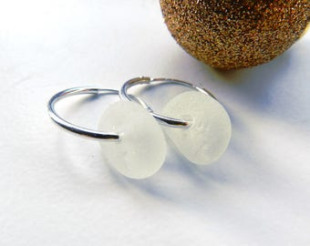 Endless - White Sea Glass Sterling Silver Seaham English Sea Glass Hoop Earrings Beach Glass