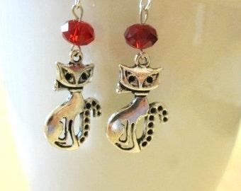 Kitty Cat Earrings Red Crystal