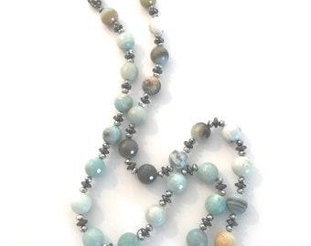 Amazonite Gemstone, Hematite and Crystal Necklace
