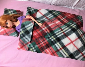 Red & black plaid Fleece bedding set for male and female Fashion Dolls - bsb24