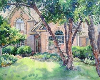 Custom House Portrait/ Watercolor Home painting/ New Home Housewarming gift/ Birthday gift/ Anniversary Gift/ Wedding Gift