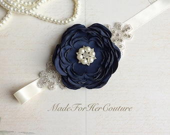 Navy Bridesmaid Sash/Belt, Flower girl Sash, flower girl belt, Rustic Sash, Wedding Sash, wedding belt,  bridal sash/belt, Navy Bridal sash