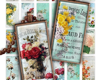 75% OFF SALE Pretty Flowers Digital collage sheet PR001 printable download 1x2 inch size rectangle glass pendant resin digital image flowers