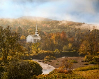 Vermont Church in Autumn Photograph, New England Fall Trees and Foggy River, Wall Art, Landscape, Nature, Foliage - Dawn Breaks in Vermont