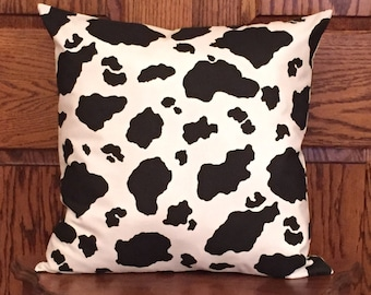 Cow print pillow cover - cow pillow - cow decor - farmhouse pillow - country pillow - rustic pillow  - western pillow - black and white