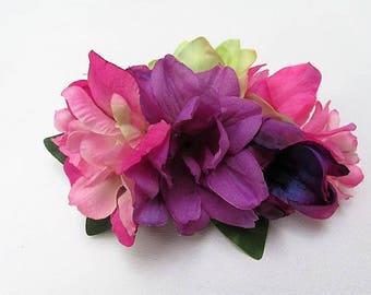 Purple fascinator, silk flowers, purple pink barrette, purple flowers, bridal hair, wedding hair, purple&pink floral clip,wedding flowers