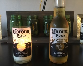 Corona candle made from a 12 oz cut glass bottle