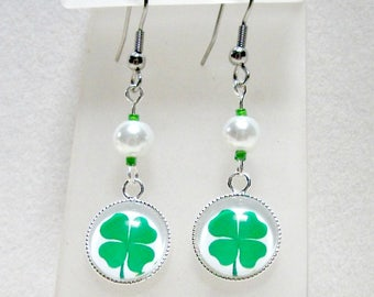 Shamrock, clover cabochon charm earrings with small white glass pearl top bead, St. Patrick's day, Irish theme,Holiday jewelry
