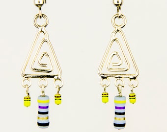 Triangle Dangle Earrings with Purple and Yellow Resistors