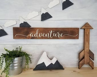 Wood Sign, Adventure Sign, Gallery Wall Sign, Adventure Decor, Adventure Nursery, Woodland Nursery, Gifts For Her, Inspirational Sign