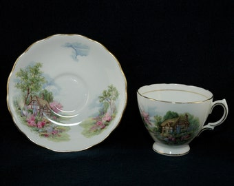 Sale! Vintage English China Thatched Cottage Cup and Saucer