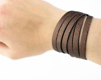 Leather Bracelet / Skinny Sliced Wrap Cuff / Espresso Shimmer