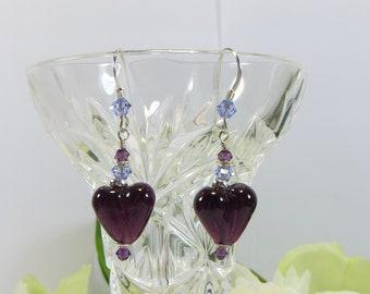 Dark Amethyst Heart Earrings, Handmade British Artist Glass Heart Earrings, Amethyst Purple Lampwork Heart Earrings w 925 Silver & Swarovski