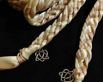 Ivory and Blush/ Light Pink Handfasting Ceremony Braid- Celtic Heart- 6 feet- Wedding- Fast Shipping- Binding Rope- Tying the Knot