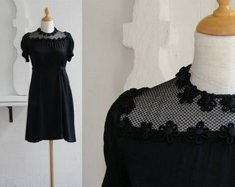 20s dress, art deco dress, black, size S