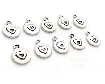 10 charms sequin heart silver 12x14mm (BRE 566)
