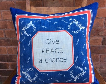 Give Peace a Chance embroidered pillow