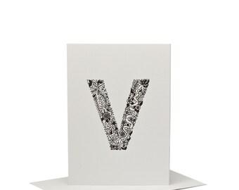 V for Viper/Snake - Letterpress Print
