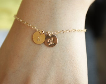 Two initial discs bracelet All Gold Filled  monograms engraved hand stamped disc, couple letter, simple bracelet , everyday jewelry