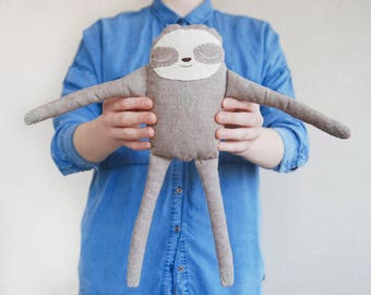 Stuffed sloth toy, plush sloth, sloth kids gift, handmade whale, child's toy, stuffed toy for kids, child friendly toys, baby shower gift