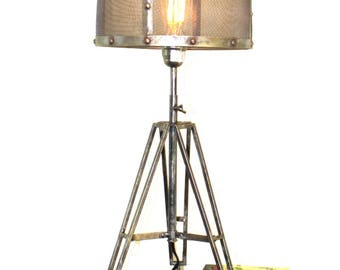 Mesh lamp shade etsy tripod table lamp with wire mesh aged metal shade industrial factory lighting greentooth Gallery