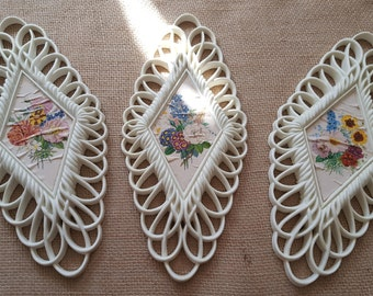 1975 Set of 3 Floral Wall Hangings Country Chic Trio Wall Decor