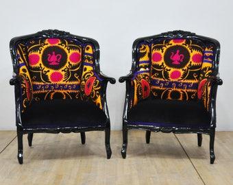 2 x Vintage Armchairs - Suzani dream I
