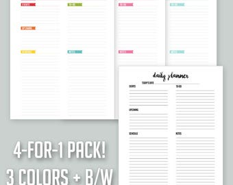 4-for-1 Pack – Printable Daily Page – Letter-Size