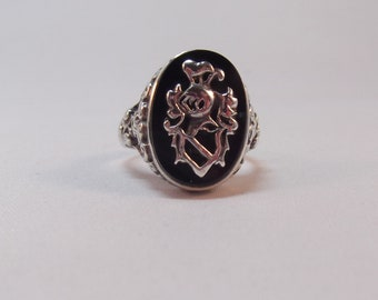 Amazing Sterling Silver Ring with Applied Silver Crest