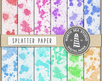 ABSTRACT ART, Splatter Digital Paper, Watercolor Splatter Background, Rainbow Colorful Splatters, 12 JPG Files, Commercial Use, BUY5FOR8