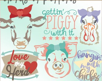 Farm Animal Bandana Clipart -Personal and Limited Commercial Use- pig, cow, chicken, farm clip art