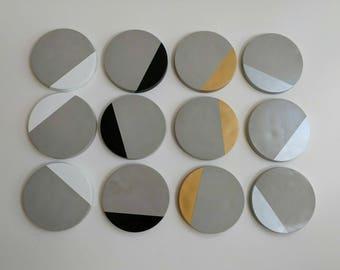 Concrete Coasters. Geometric. Metallic. Scandi. Concrete. Cement. Home Decor. Unusual Gifts