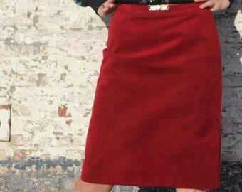 Faux leather pencil skirt, vintage winter skirt