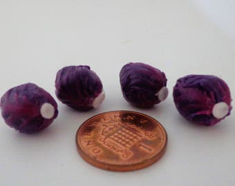Trimmed Red Cabbages x 4 Dolls House Miniature Vegetable