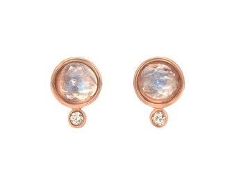 Moonstone Earrings, Moonstone Diamond Earrings, Rose Cut Moonstone Stud, Gold Moonstone Earrings, Bridal Earrings, June Birthday Gift, Nixin