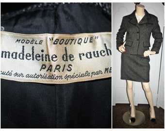 1950's Madeleine de Rauch Paris Vintage Tweed Skirt Suit.