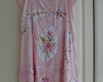 Gorgeous Pale Pink Embroidered 1920's Gatsby Downton Abbey Flapper Lawn Cotton Dress