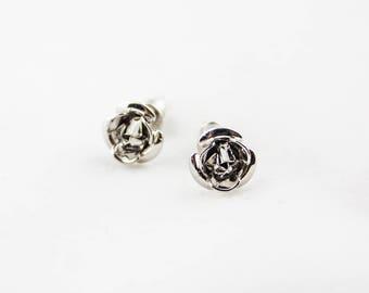 Vintage Silver Tone Rose Flower Little Stud Earrings