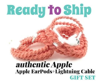 Gift Set for Her iPhone 6 Charger Cable & Wrapped Tangle Free Earbuds EarPods Headphones for iPhone in CORA