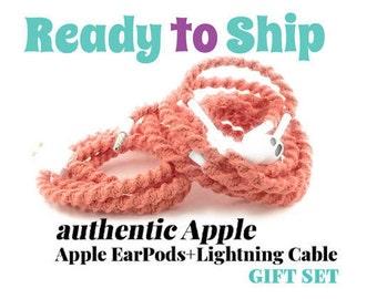 Ensemble cadeau pour son iPhone 6 chargeur câble & enveloppé embrouillement libre écouteurs EarPods casque pour iPhone en CORA