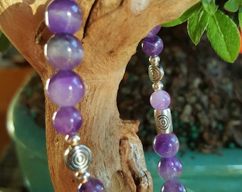 Amethyst and Silver Healing Bracelet