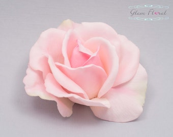 Blush Pink Rose Hair Clip. Real Touch Flowers. Valentines Day, Prom, Special Occasion, Christmas Present Gift, Caroline Rose Collection