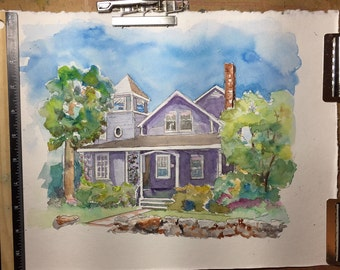 Custom Watercolor Painting House or Church (10 X 8)