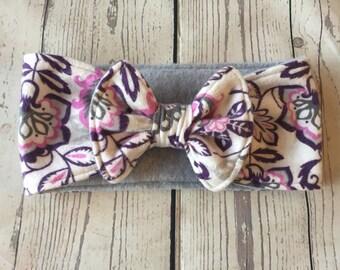 Ear warmers-headband-baby/toddler winter headband-flannel print-fleece lining-flowers and paisley-baby girl headband-baby girl gift