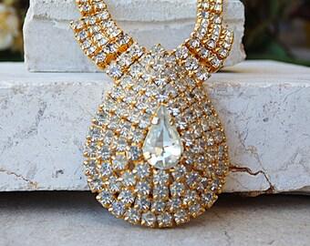 Big Swarovski Choker Necklace. Gold Plated Swarovski Crystal Choker.Swarovski jewelry. Clear Crystal Wedding Choker. Chunky Chocker Necklace