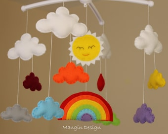 Sale! Rainbow mobile musical cloud mobile rainbow baby mobile