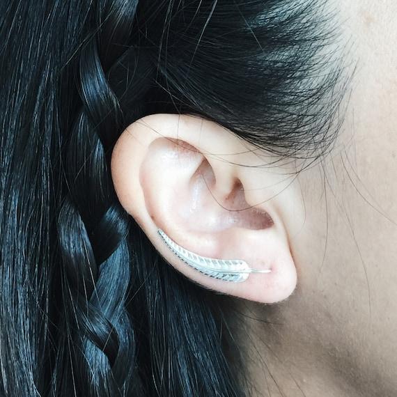 Sterling Silver Leaf Ear Crawlers Silver Ear Climbers Silver