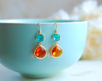 Blue and Orange Earrings, Gold Plated Blue and Tangerine Orange Glass Drop Earrings, Dangle, Bridesmaid, Wedding Jewelry, Mothers day Gift